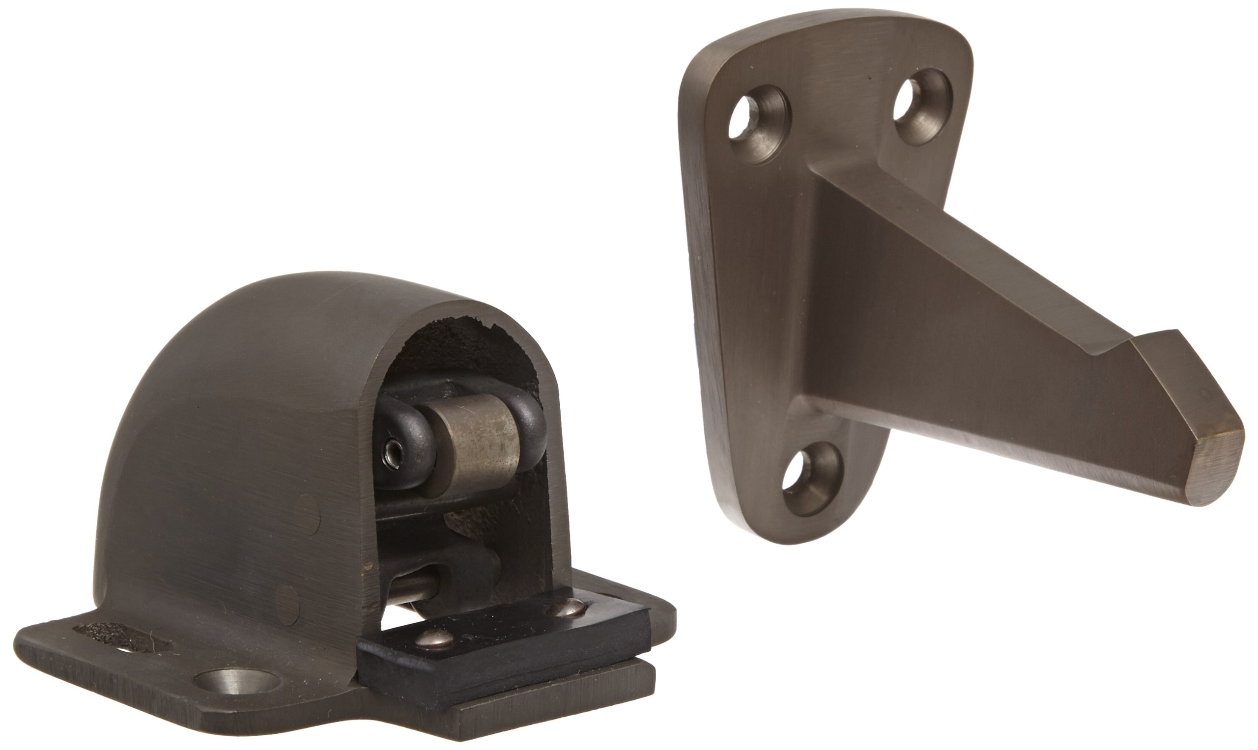 Rockwood 494.10B Bronze Wall Mount Automatic Door Holder with Stop, Satin Oxidized Oil Rubbed Finish, 3-3/4'' Wall to Door Projection, Includes Fasteners for Use with Solid Wood Doors and Drywall/Plaster Walls
