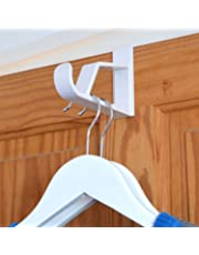 """HANGERWORLD Pack of 2 White Plastic Super Strong Over The Door Hooks for Coats Clothes Towels Etc-Each Holds 10 or More Garments on Hangers-6.9"""" (17.5cm)"""
