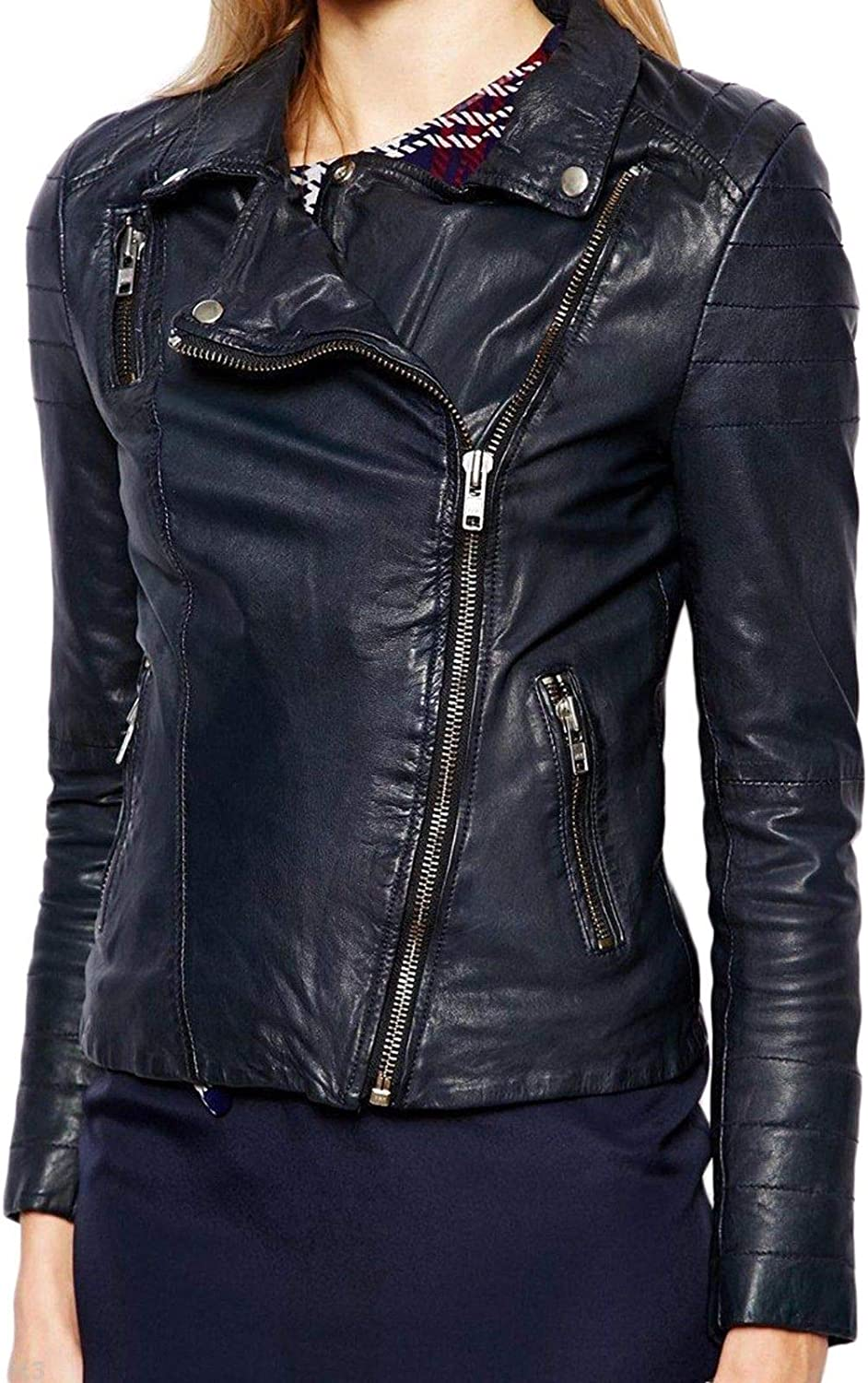 Pristine Leather Womens Lambskin Leather Motorcycle Rider Biker Racer Black Jacket WJ-176