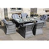 Gartenmöbel-Set aus Rattan, 6 Sitze, langer Tisch, Grau