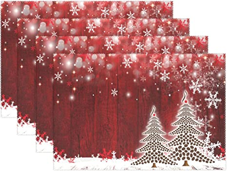 Amazon Com Wamika Coffee Christmas Tree Placemats Xmas Snowflakes Table Mats Non Slip Washable Heat Resistant Place Mats Kitchen Dining Decor Tray Mat 12 X 18 Set Of 4 Home Kitchen