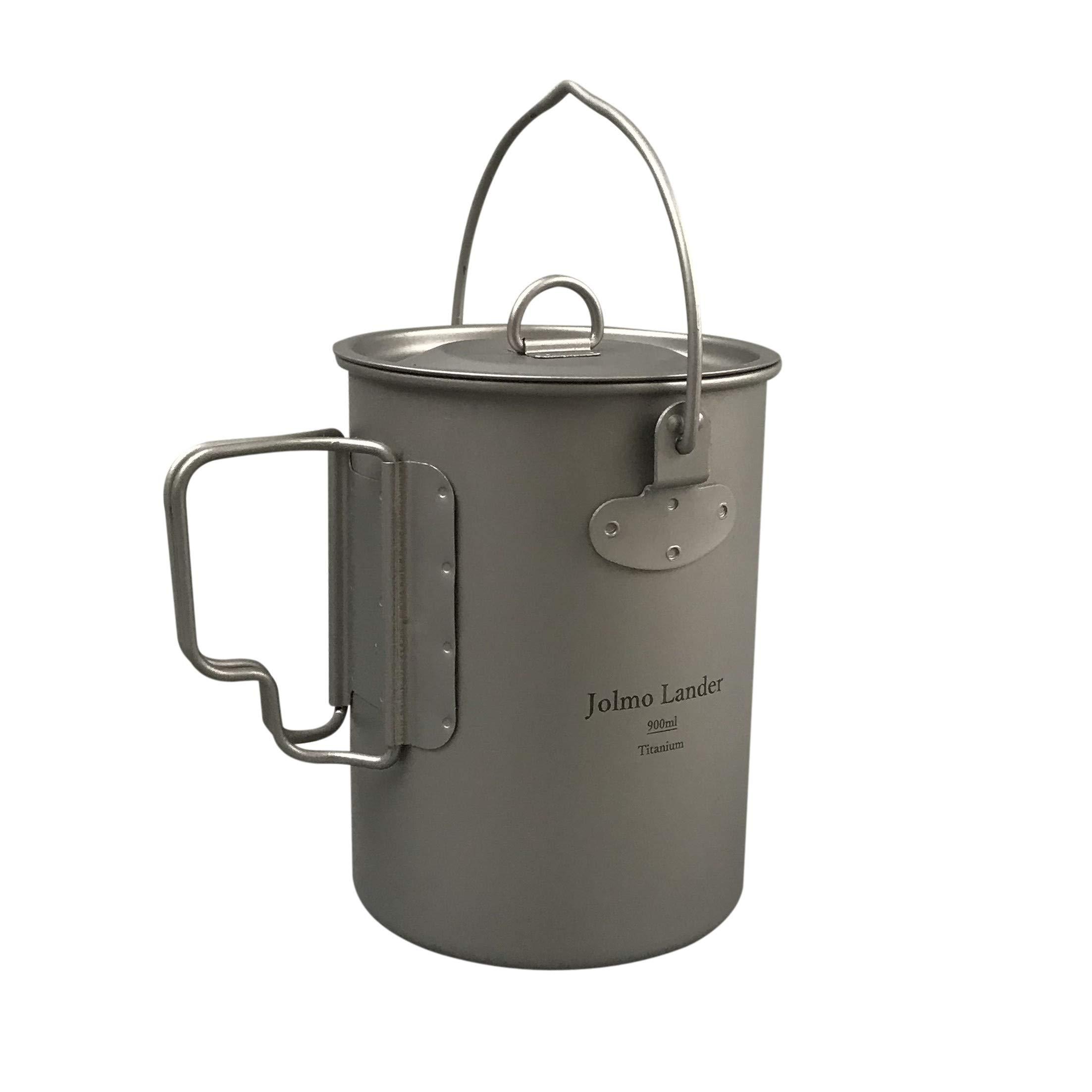 Jolmo Lander Titanium Pot with Bail Handle Outdoor Ultralight Titanium Cookware 900ml by Jolmo Lander