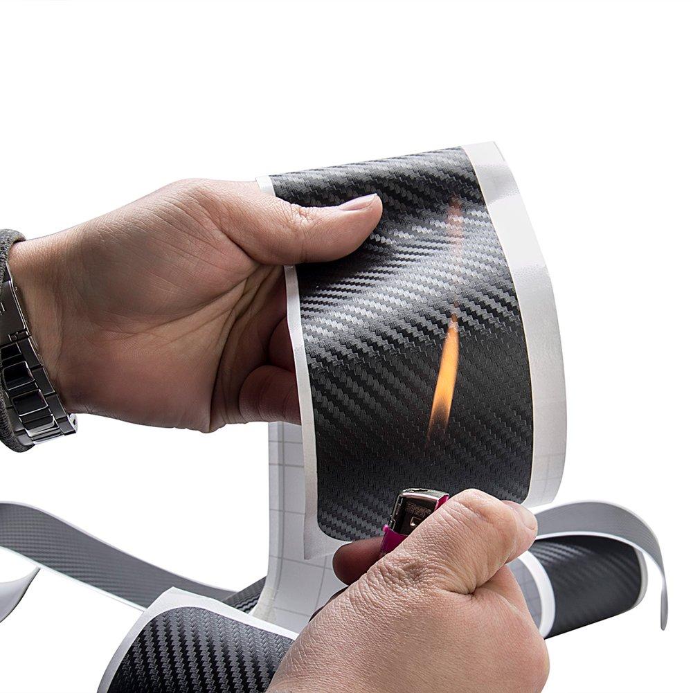 Lot de 4 Protections de seuil de porti/ère de Voiture en Fibre de Carbone 3D Autocollants pour Plaque de Porte seuils de p/édale Anti-Coups de Pied pour Voiture Universelle SUV Pickup Camion