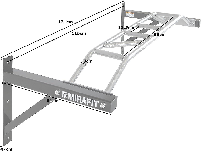 Barra de dominadas para montaje en pared, 1,2 m de ancho, resistente, color plateado, de MiraFit: Amazon.es: Deportes y aire libre