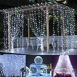 Slashome Ucharge 29V 300LED Window Curtain Icicle Light with 8 Modes,Curtain String Fairy White Wedding Led Lights 9.8x9.8 Feet