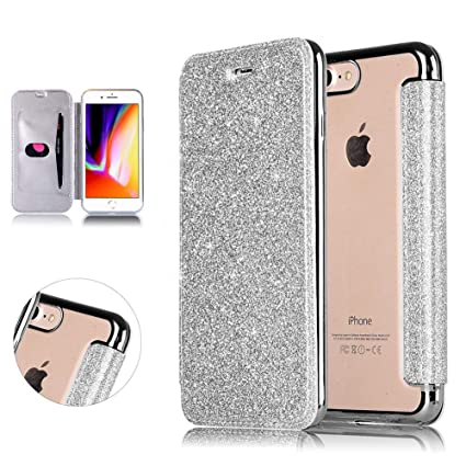 734ae4ada67 Glitter Flip Case for iPhone 7 Plus/8 Plus, DasKAn 2 in 1 Hybrid Soft Clear  Plating Silicone TPU Protective Back Cover Ultra Slim Card Holder Folio  Wallet ...