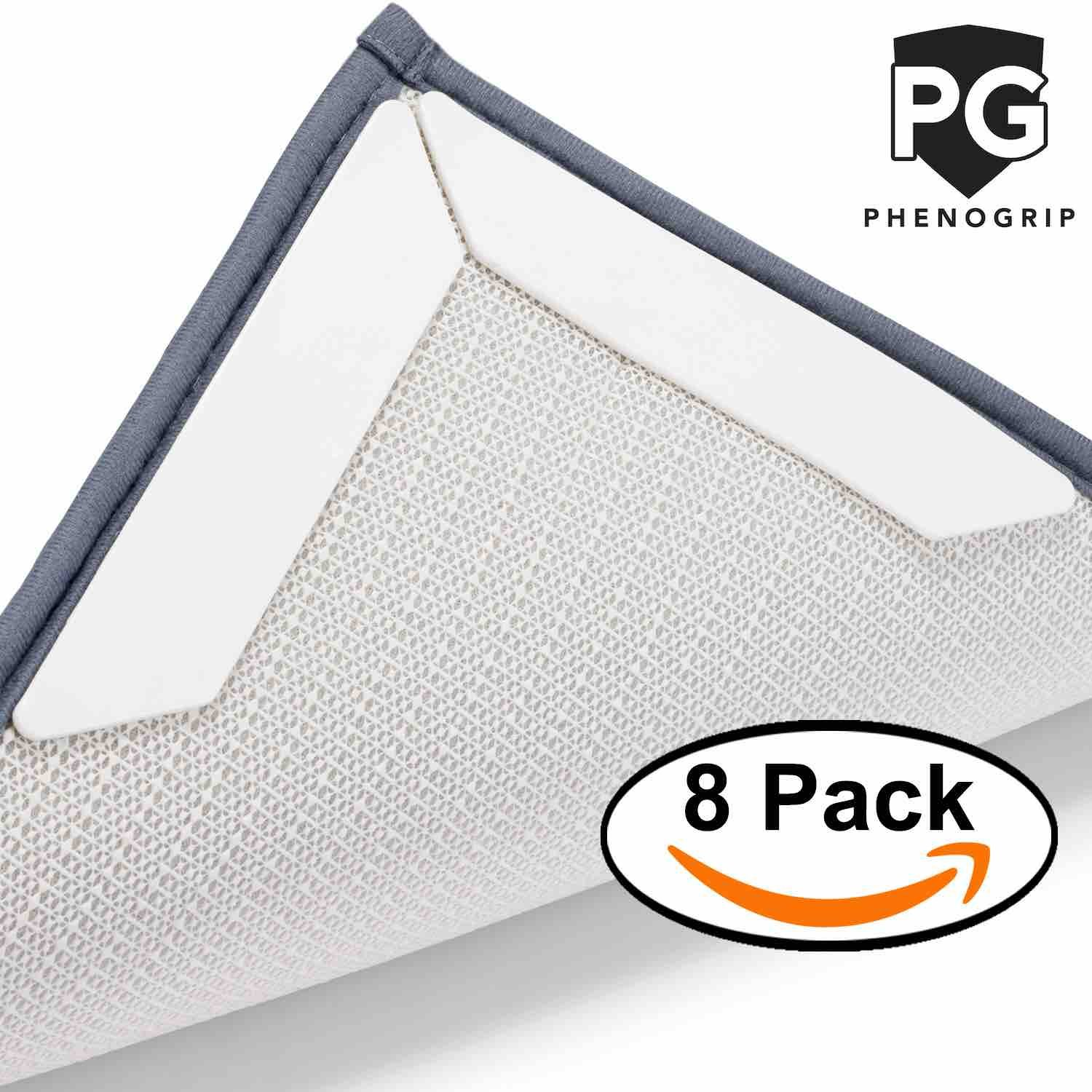 Phenogrip Non-Slip Rug Grippers – Anti-Slip Rug Gripper for Carpets, Area Rugs, Mats, Hall Runners, Hardwood Floor, Tiles| Anti-Skid Reusable Gripper Tape Prevents Curling, Flattens Corners (8 PACK)