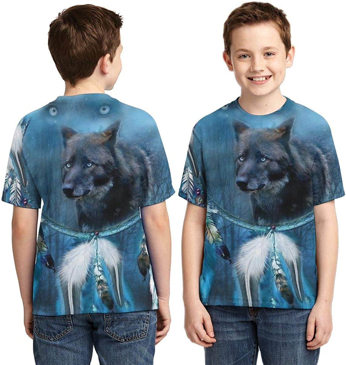 Boys Short Sleeve Native American Midnight Wolf Dream Catcher Kids Cool 3D Print Tshirts Tee Shirts Tops