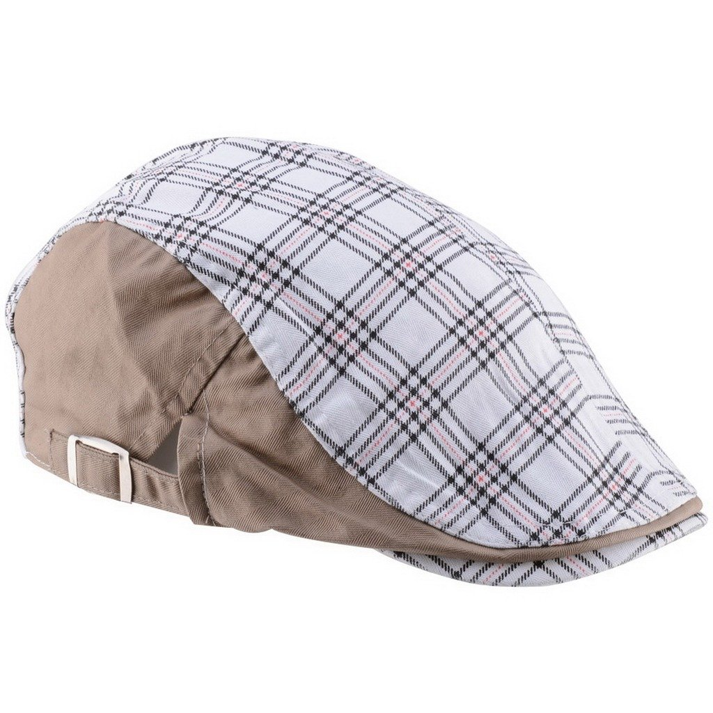 Ukerdo Plaid Flat Berets Hats for Men Newsboy Cabbie Duckbill Caps Accessories Cap-166