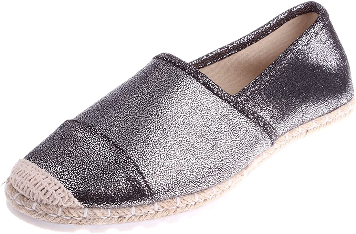 Enimay Women s Fashion Casual Metallic Slip On Tennis Shoes Padded Rubber Sole