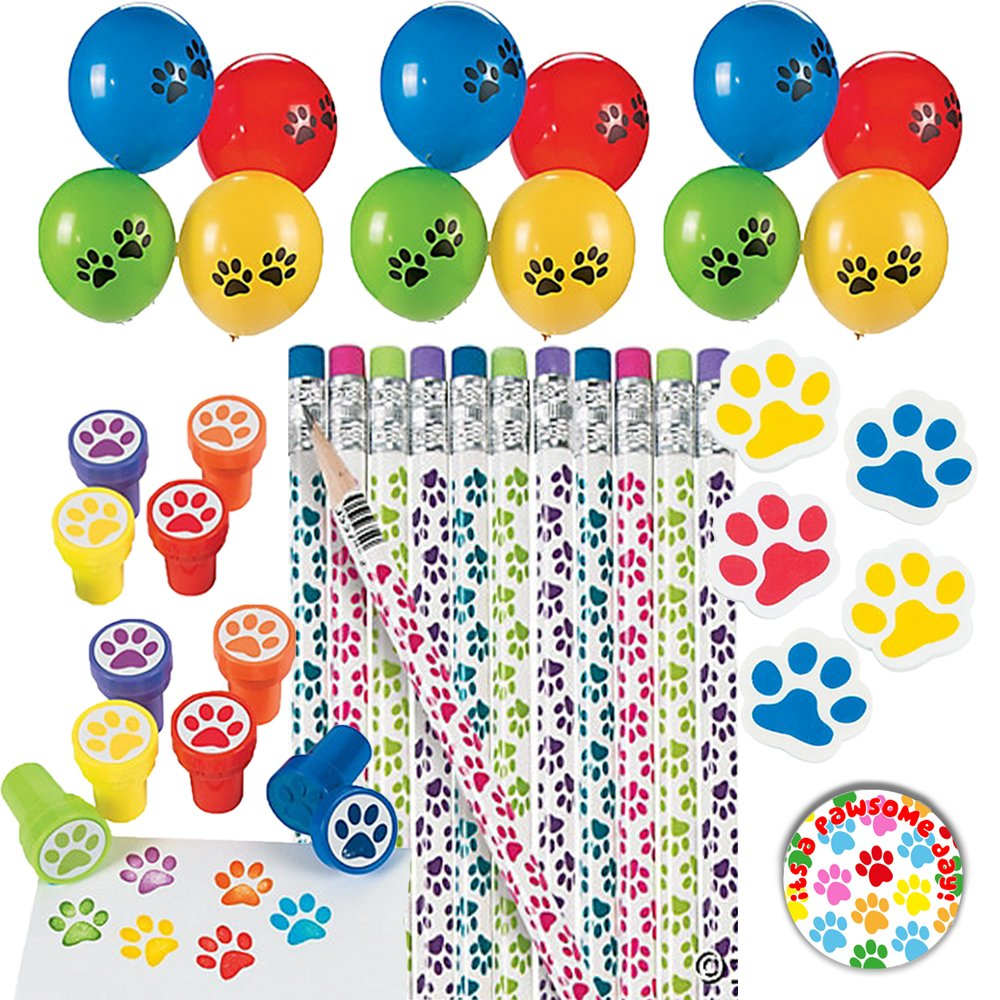 Paw Print Party Favor School Mega Bulk Supplies Animal Lover Themed Pack includes Pencils, Erasers, Stampers, and Balloons! by Another Dream