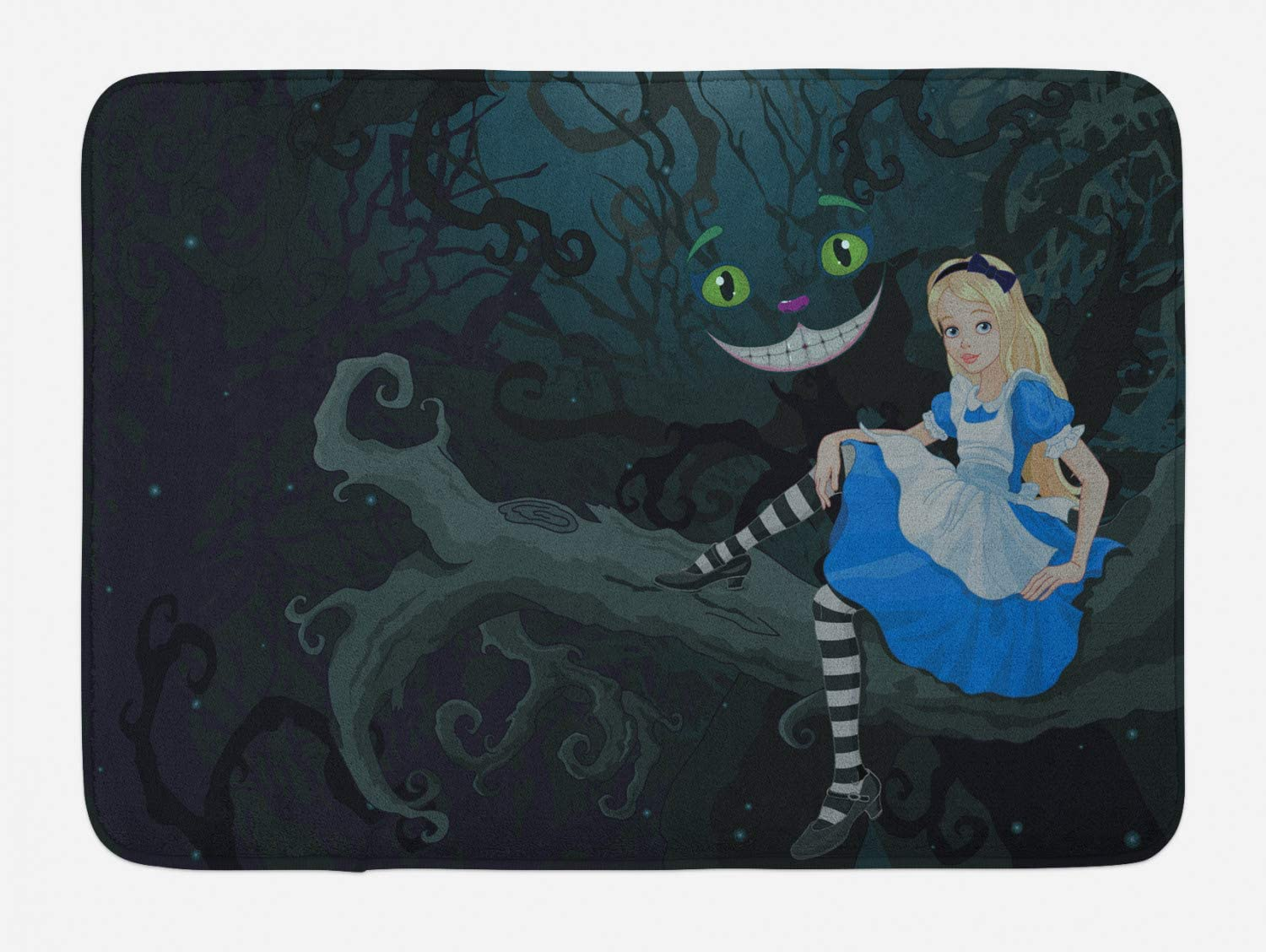 Ambesonne Alice in Wonderland Bath Mat, Alice Sitting on Branch and Chescire Cat in Darkness Cartoon Style, Plush Bathroom Decor Mat with Non Slip Backing, 29.5