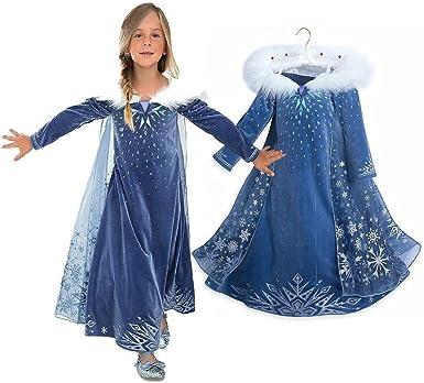 oobest Vestido de Novia de Princesa Girls Azul Snow Queen Elsa ...