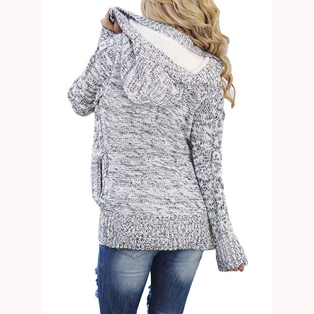 NUWFOR Outwear Women Hooded Knit Open Front Cardigans Button Cable Sweater Coat(Gray, M) at Amazon Womens Clothing store: