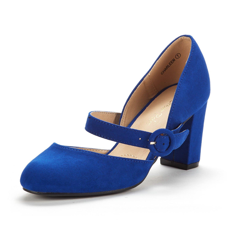 DREAM PAIRS Women's Charleen Royal Blue Classic Fashion Closed Toe High Heel Dress Pumps Shoes Size 7.5 M US