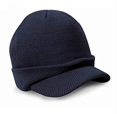c2b572faae3 Malloom Esco Peaked Army Beanie Hat Warm Wooly Winter Mens Ladies Cadet Ski  Cap (Navy)  Amazon.co.uk  Clothing