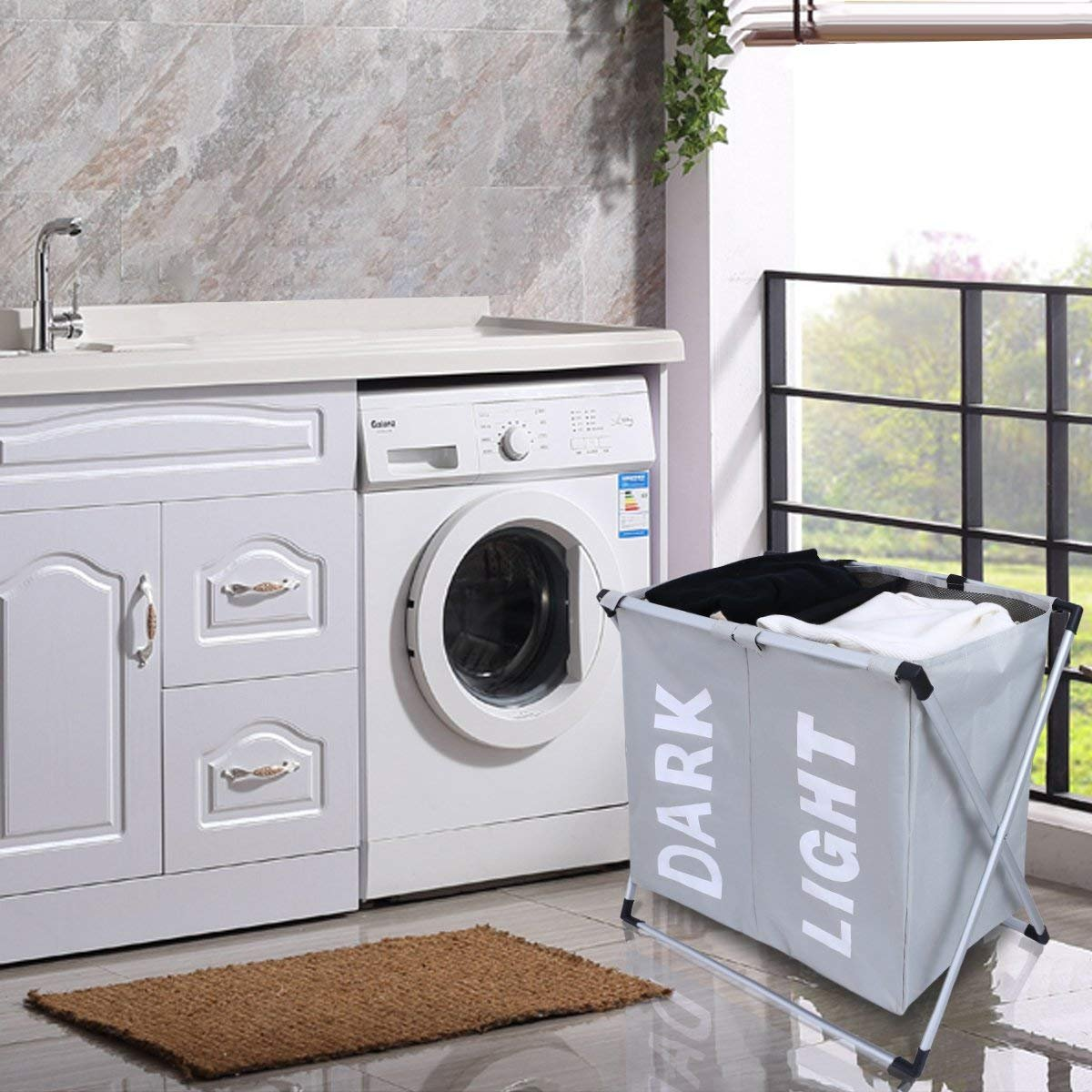 WOWLIVE 2 Section Laundry Hamper X-Frame Double Laundry Basket with Aluminum Frame Durable Dirty Clothes Bag for Bathroom Bedroom Home (Grey)