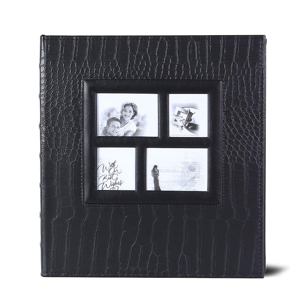 Photo Album for 600 4x6 Photos Leather Cover Extra Large Capacity for Family Wedding Anniversary Baby Vacation (Black) by Vienrose (Image #2)