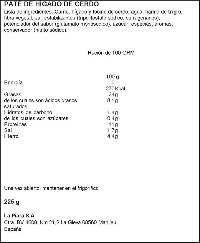 La Piara - Paté de hígado de cerdo - Tapa negra - 225 g ...