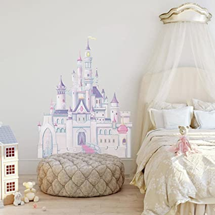 Roommates Rmk1546Gm Disney Princess Glitter Castle Peel U0026 Stick Giant Wall  Decal