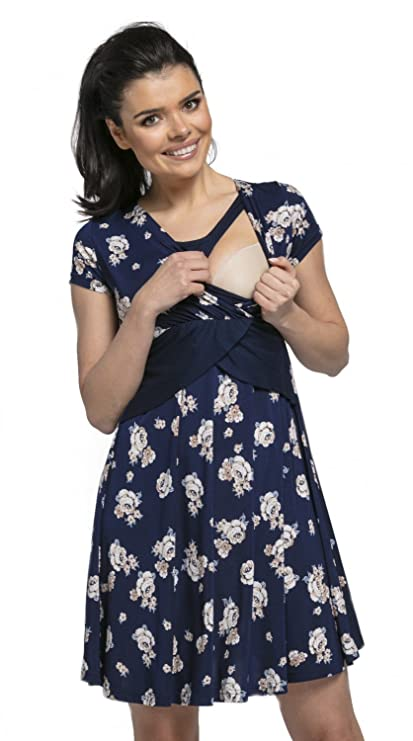 Happy Mama Womens Maternity Nursing 2in1 Skater Dress Short Sleeves. 605p at Amazon Womens Clothing store: