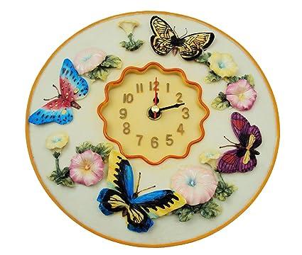 "Amazon.com: Butterfly Clock, 8"" Round, 3D Polystone - Butterflies ..."