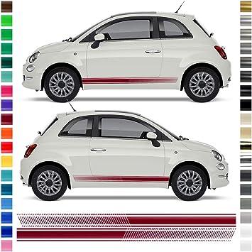 Auto Dress Seiten Streifen Aufkleber Set Dekor Passend Für Abarth 500 595 In Wunschfarbe Schwarz Matt Auto