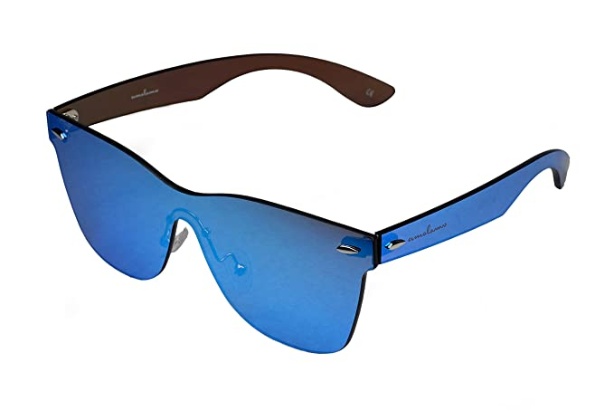 2c4daed7c1b amoloma Frameless Rimless Sunglasses Wayfarer style blue mirrored  Amazon.co .uk  Clothing