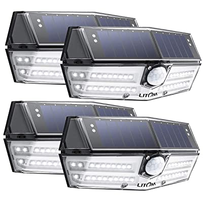 LITOM 40 LED Solar Lights Outdoor, 3 Optional Modes Wireless Motion Sensor Solar Light with 270° Wide Angle, IP67 Waterproof, Easy-to-Install Security Light for Front Door, Yard, Garage, Deck-4 Pack