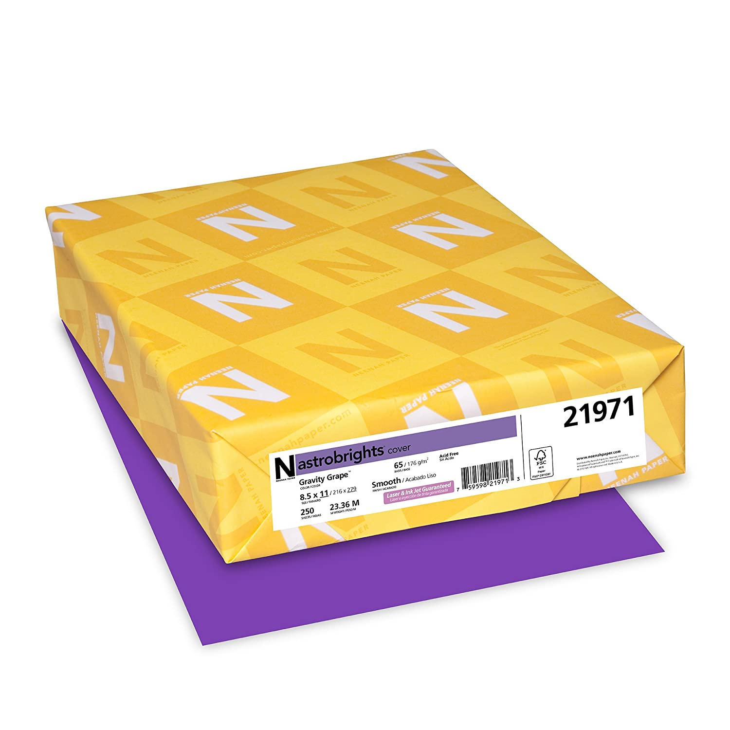 Neenah Astrobrights Color Cardstock, Letter 8.5 x 11 Inches, 65 lb. Cover, Sunburst Yellow, 250 Sheets (22791) Neenah Paper (OP)