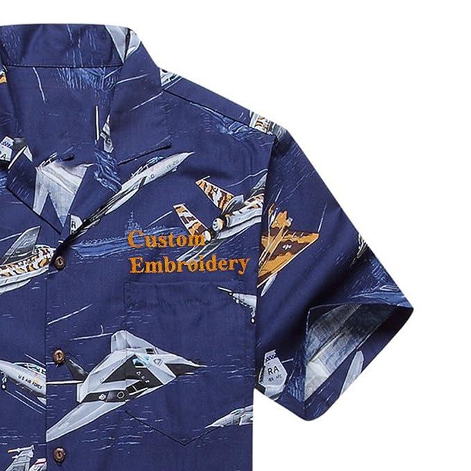 af3b18cba53 Made in Hawaii Men s Hawaiian Shirt Aloha Shirt Jet Planes Fighters Ships  Navy Blue - -