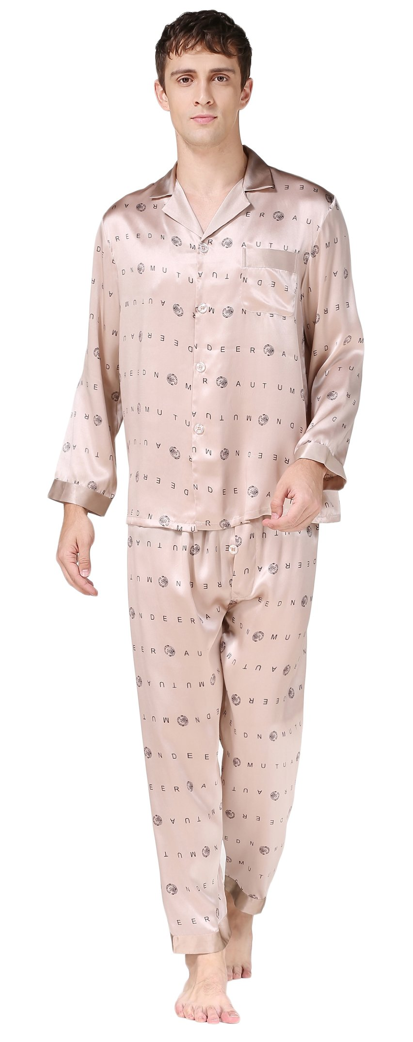 Colorful Silk Luxury Silk Pajamas Sets Long Sleeve Beautiful Gifts For Husband BeigeA M