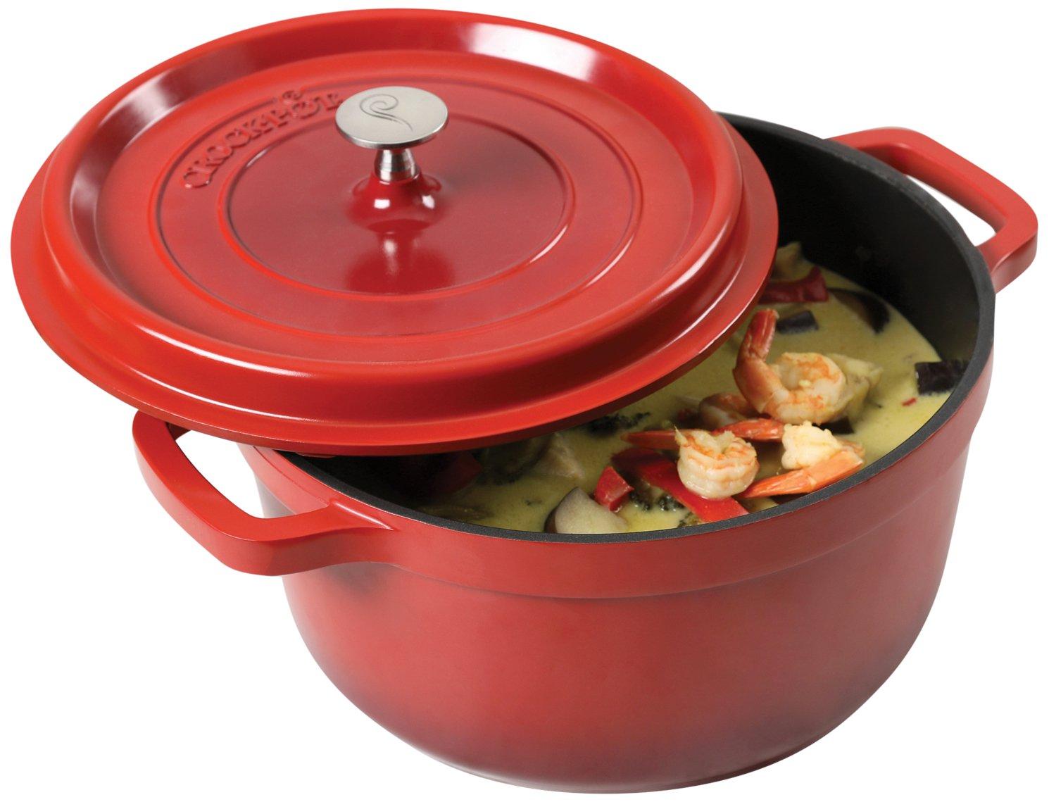 Crock Pot 79564.02 Edmound 5Quart Cast Aluminum Dutch Oven with Lid, Gradient Red