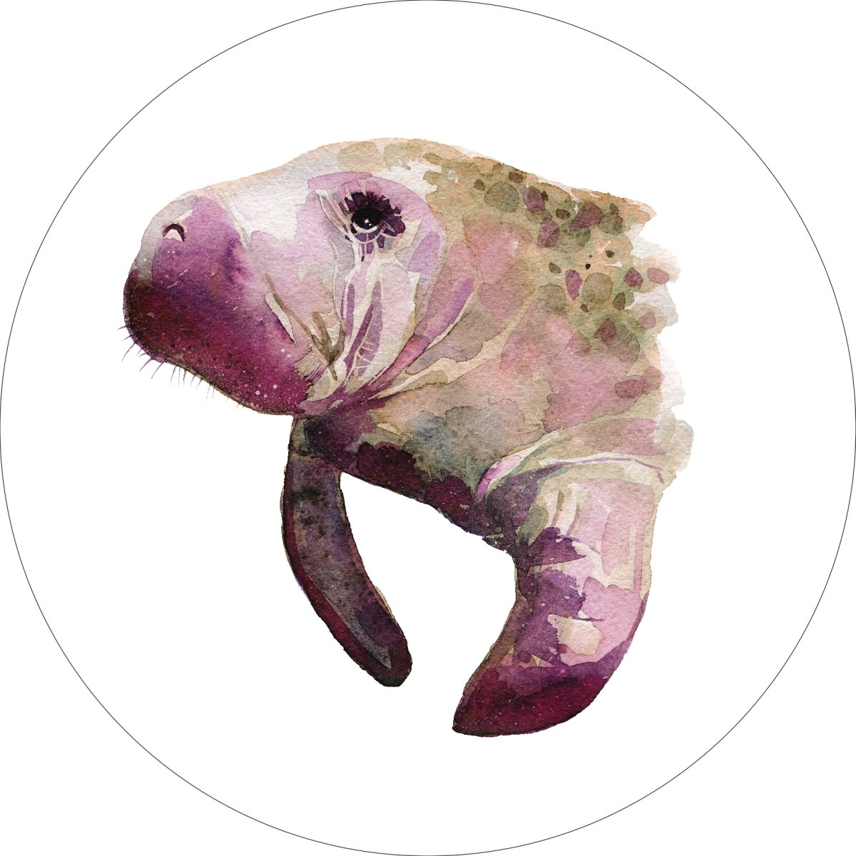 Manatee Home Wall Shelf Decor Animal Decorations Watercolor Round Sign - 18 Inch, Metal