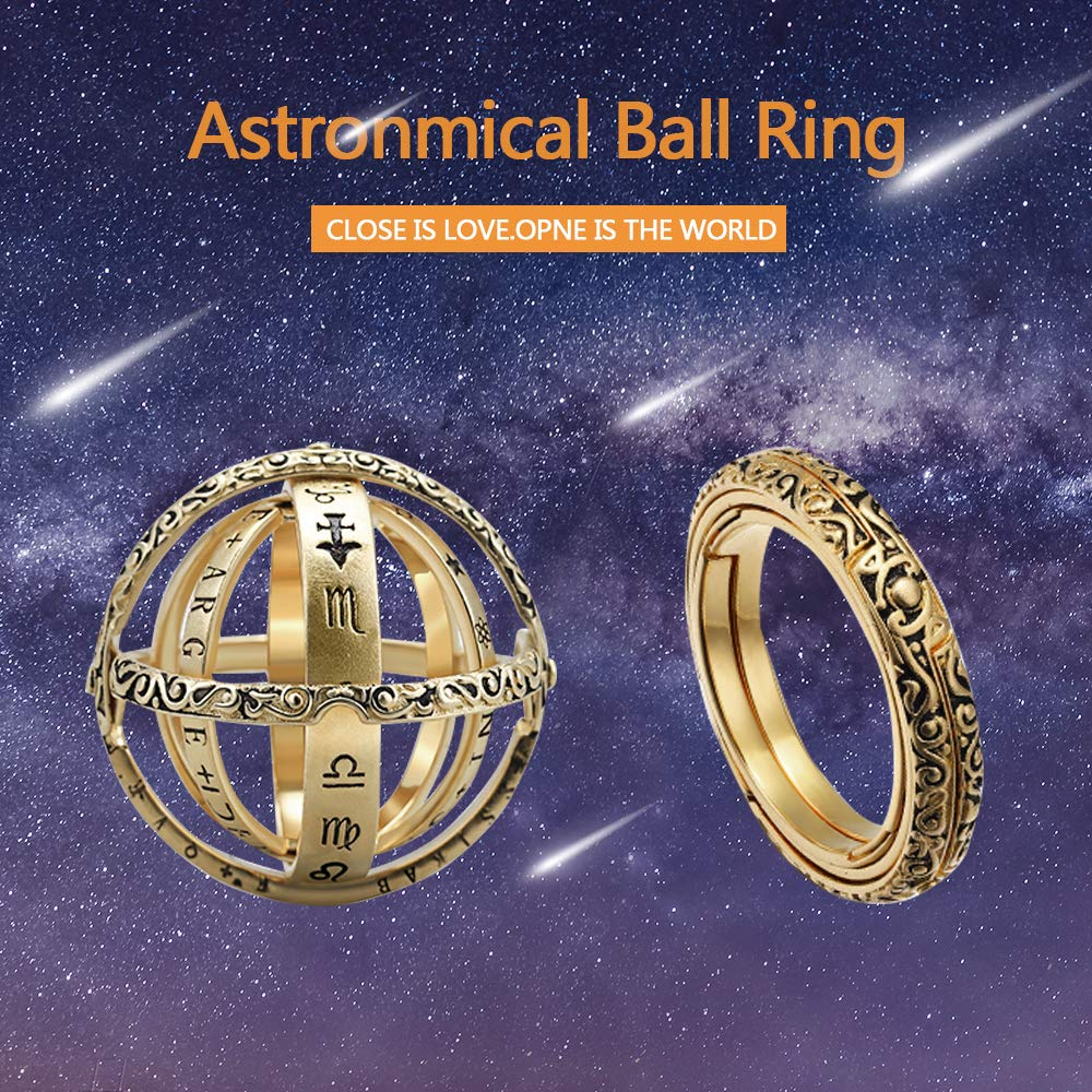 HongShan Astronomical Sphere Ball Ring Faded Effect Retro Germany Folds Out Astronomical Ring Silver Copper Couple Lover Jewelry Gifts