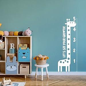 Nursery Vinyl Wall Art Decal - Let's See Your Growth Chart Zoo Giraffe - 62.5