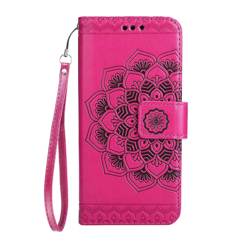 Coque Galaxy J7 Prime/On 7, SONWO La Mode Motif de Mandala Fleurs Flip en Cuir PU Housse Etui avec Fermoir magnétique, Fentes de la Carte pour Samsung Galaxy J7 Prime/On 7, Rose rouge