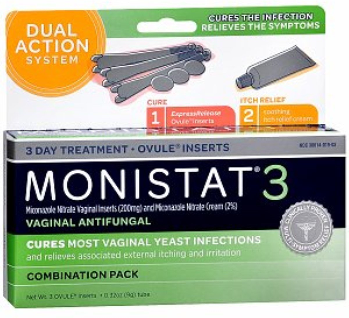Monistat 3 Vaginal Antifungal, Ovule Inserts Combination Pack 1 Ea (pack of 7)