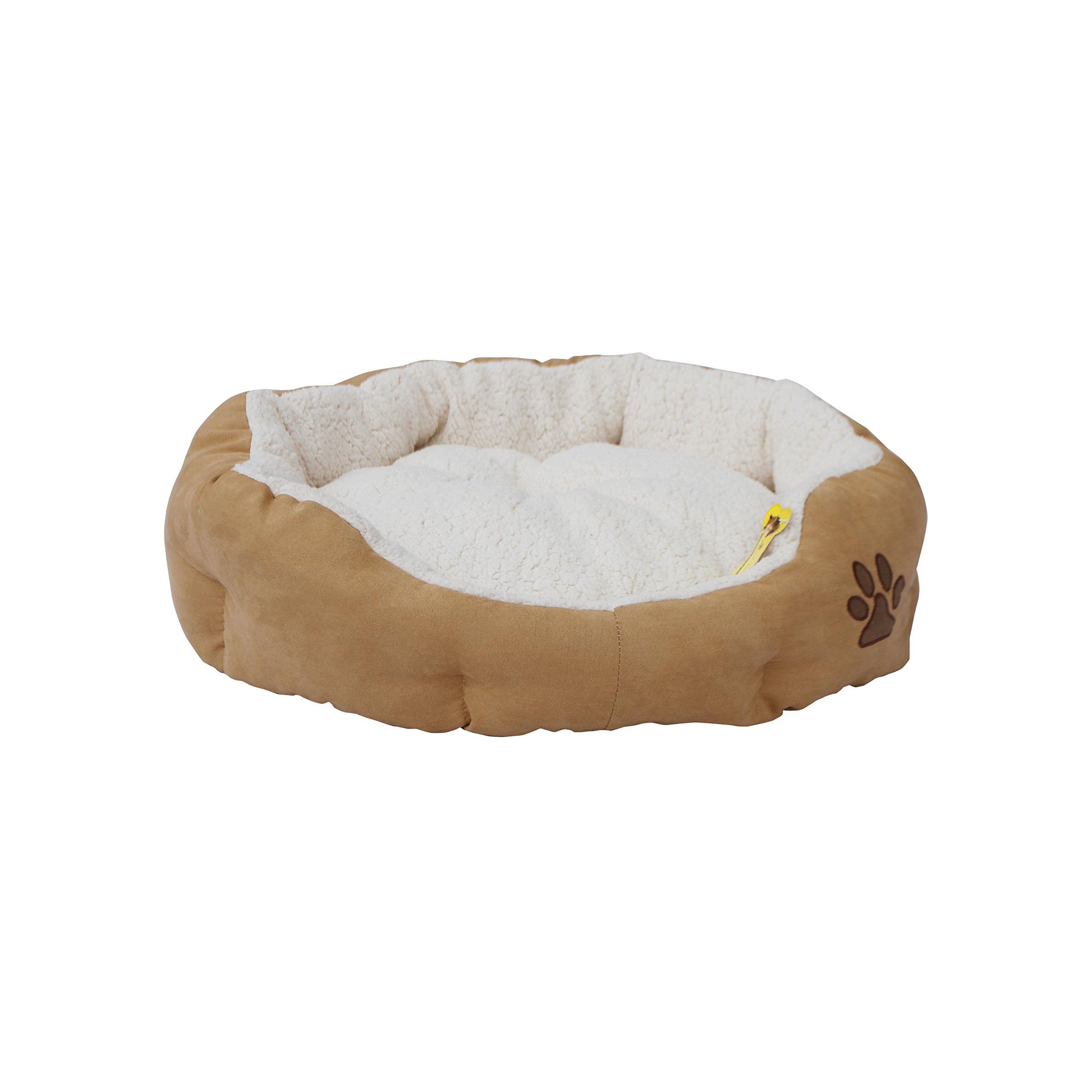 ALEKO PB02M Medium Plush Pet Cushion Crate Bed for Dogs Cats Machine Washable Indoor Outdoor with Removable Insert Pillow 23 x 22 x 6 Inches Beige and White