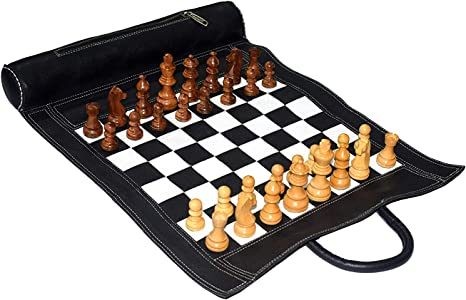 """Chess Leatherette Storage Box Vintage Chessmen Set Pieces Padded King 5/"""" Leather"""