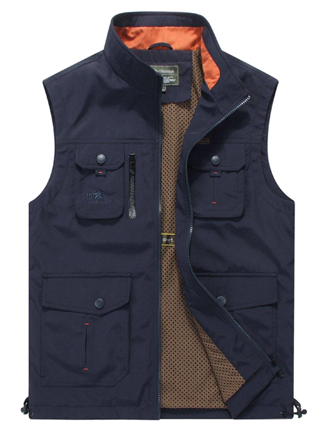Gihuo Men's Utility Outdoor Multi Pockets Fishing Photo Journalist Sports Vest (Medium, Navy)
