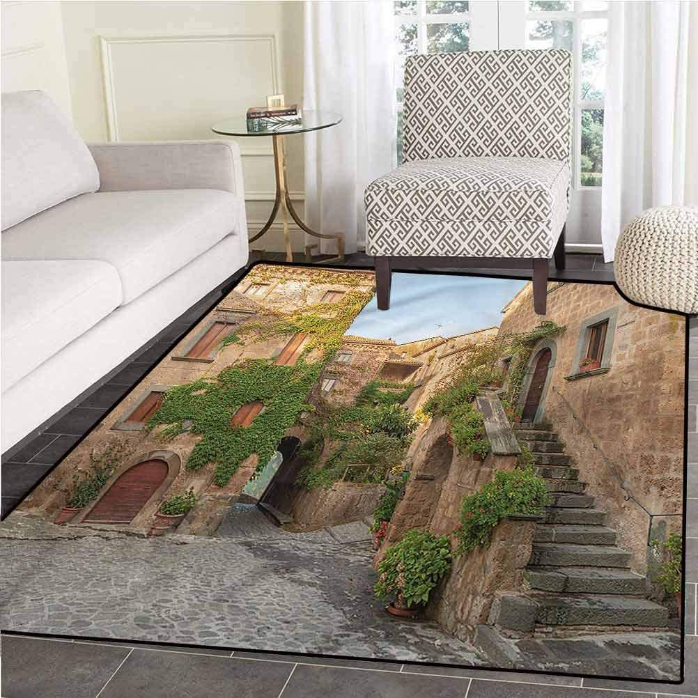 Amazon Com Tuscan Home Decor Rug With Non Skid Rubber Backing Burano Italy Village Houses Rug 4 By 5 Ft Kitchen Dining