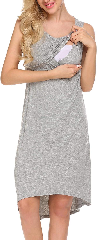 Unibelle Damen Stillkleid Umstandskleid Umstandsmoden Schwangerschaftskleider Maternity Kleid Sommer Kleid Stillkleid Stillnachthmd /Ärmellos