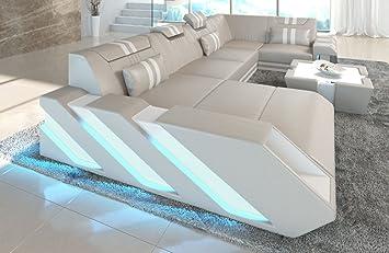 Sofa Dreams Leder Wohnlandschaft Apollonia U Form Beige Weiss