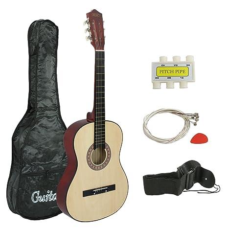 Zeny Guitarra acústica para principiantes de 96,5 cm con estuche ...