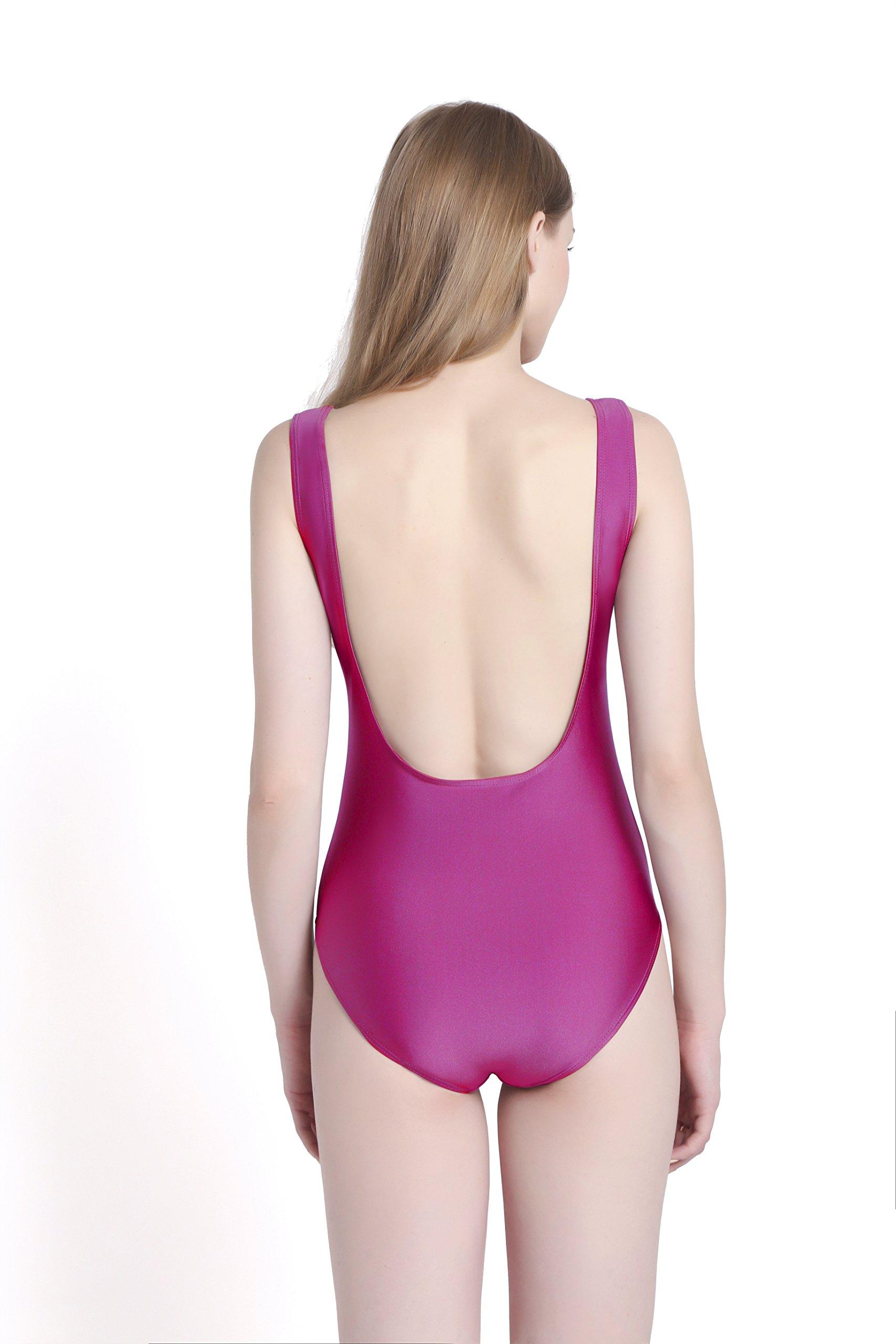 PINJIA Sexy Cute One Piece Swimsuit With High Cut and Low Back Monokini Bikini For Women(MX03) (S, Purple Bride)