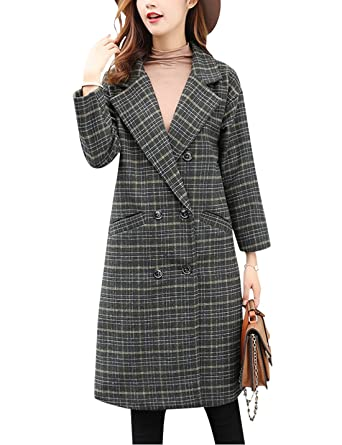 Tanming Women s Double Breasted Long Plaid Wool Blend Pea Coat Outerwear  (Small c46cbe48bd
