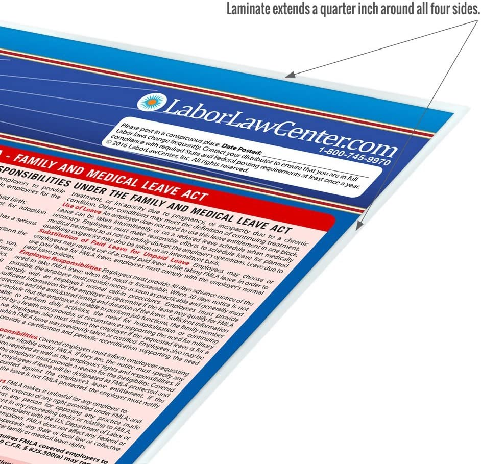 2019 New Jersey OSHA Compliant Federal Labor Law Poster State Spanish Single Laminated Poster