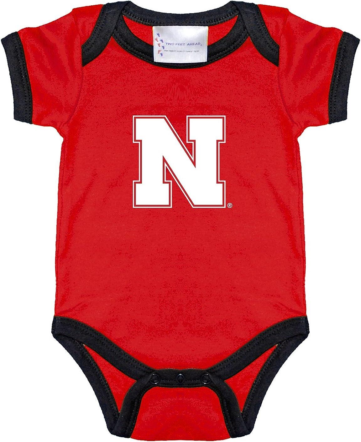 Nebraska Cornhuskers Two Tone NCAA College Newborn Infant Baby Creeper