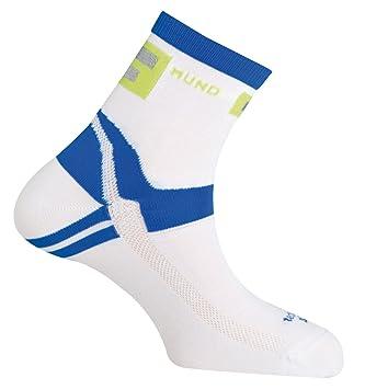 MUND Running/Cycling Calcetines de Running/Cycling para Hombre, Blanco y Azul, 42-45: Amazon.es: Zapatos y complementos